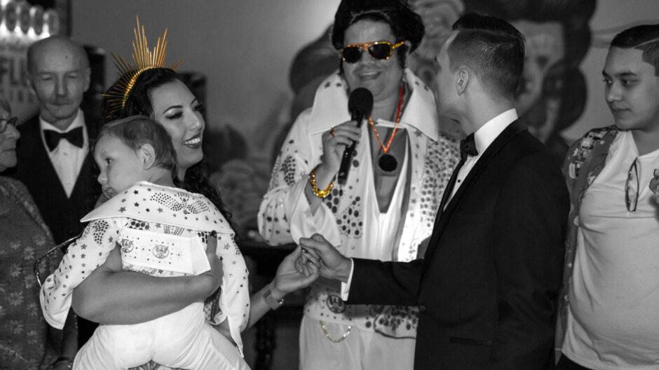 Eddie, as Elvis, marries Vanessa and Etienne